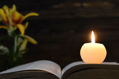 Candle, opened book and flowers on dark background. Candle, opened book and flowers on dark wooden background Royalty Free Stock Images