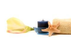 candle orchid spa πετσέτα αστεριών Στοκ Εικόνες