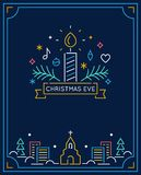 Candle and Ornaments, Winter Town and Church Outline. Christmas Eve Candlelight Service Invitation. Line Art Vector. Design Stock Photography