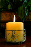 Candle With Ornate Holder stock photo