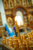 Candle in orthodox church Royalty Free Stock Images