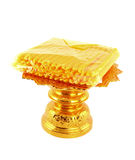 Candle pack on golden tray. On white background Stock Photo