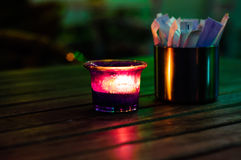 Candle And Packet Of Granulated Sugar Royalty Free Stock Photos