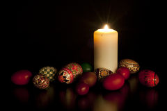 Candle with painted eggs Royalty Free Stock Image