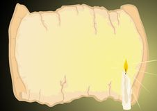 Candle and parchment Royalty Free Stock Image