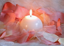 Candle and petals. White candle with pink,white and yellow gauze petals Stock Photo