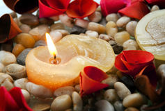 Candle and Petals Royalty Free Stock Photo