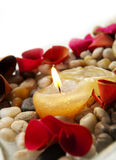 Candle and Petals Royalty Free Stock Image