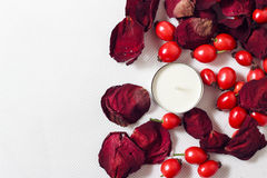 Candle, petals of rose and rose hips Stock Images