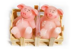 Candle pigs. Two candle pigs laying in the box stock image