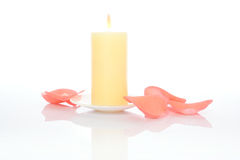 Candle and Pink Petals Royalty Free Stock Image