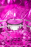 Candle with pink ribbon Stock Image