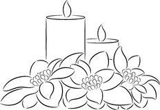 Candle and poinsettia Royalty Free Stock Image
