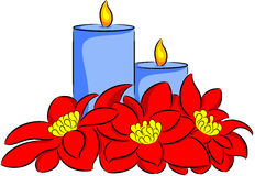 Candle and poinsettia Stock Photo
