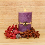 Candle and potpourri Royalty Free Stock Image