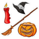 Candle, pumpkin, besom and cap Stock Image