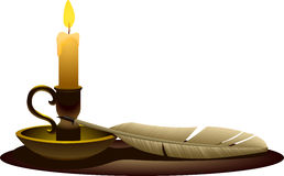 Candle with quill Royalty Free Stock Images