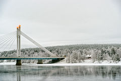 Candle of raftsman bridge in Rovaniemi Royalty Free Stock Images
