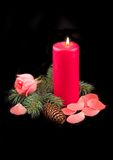 Candle red with flame. And scarlet rose with petals on black background Royalty Free Stock Photography