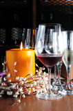 Candle red white wine Stock Photography