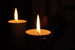 Candle with reflection in the mirror stock photos