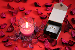 Candle with Ring in a box Royalty Free Stock Photo