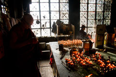Candle room, Dalai Lama temple, McLeod Ganj, India Royalty Free Stock Photo