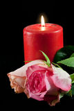Candle and rose Royalty Free Stock Photography