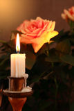 Candle And Rose Stock Photo
