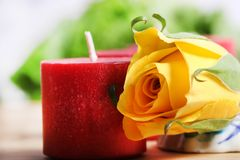 Candle and rose Royalty Free Stock Images