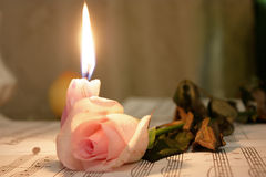 Candle and rose lieing on the music sheet Royalty Free Stock Photo
