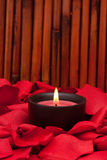 Candle and rose petals. Candle surrounded with red rose petals Royalty Free Stock Photos