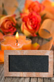 Candle with roses Royalty Free Stock Photos