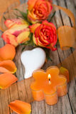 Candle with roses Royalty Free Stock Photo