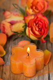 Candle with roses Stock Image