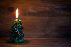 Candle. On rustic wooden background Royalty Free Stock Image