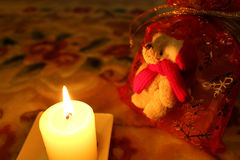 Candle and Santa Claus teddy bear present #2 Stock Images
