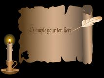 Candle and scroll Stock Photos