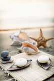 Candle at the sea. Cup of tea and candle at the sea Royalty Free Stock Images