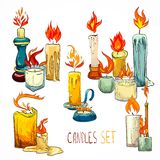 Candle set icons Stock Photos