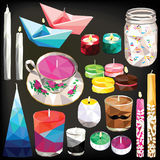 Candle set low poly. Candle set colorful low poly candle designs isolated on dark background. Vector illustration of different candles Stock Photography