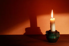 Candle With Shadow Stock Photography