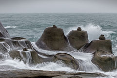 Candle shaped rocks at the Yeliu Geopark in Taiwan Royalty Free Stock Images