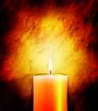 Candle shining in the darkness. Burning candle on a background of parchment, vector art illustration Stock Images