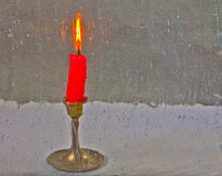 Candle Shot Through Antique Glass Stock Photo
