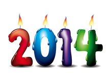 2014 lighted candles. Colorful burning 2014 candles sign with white background Stock Photos