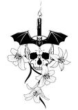 Candle, skull and lily. Vector illustration of skull, candle, lily  and bat  in black and white Royalty Free Stock Photos