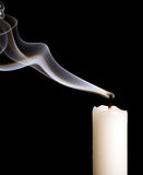 Candle with smoke royalty free stock photos