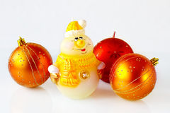 Christmas candles and toys.  Royalty Free Stock Images