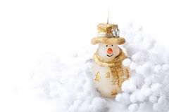 Candle Snowman and snow ball decorate for merry christmas  happy new year on white background with place  text Royalty Free Stock Photography